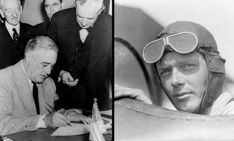 Franklin D. Roosevelt and Charles Lindbergh were at odds over intervention in World War II.
