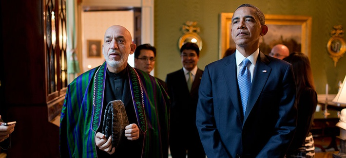 Obama and Afghanistan's President Hamid Karzai during a White House meeting