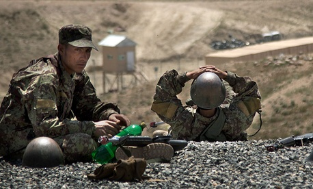 Afghan Army soldiers outside of Kabul rest after a training session