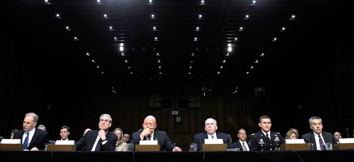 A Senate Intelligence Committee hearing features Defense Intelligence Agency Director Lt. Gen. Michael Flynn and CIA Director John Brennan.