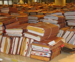 Stacks of claim folders pile up at a VA office in Winston-Salem, N.C.