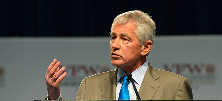 Defense Secretary Chuck Hagel speaking on Monday