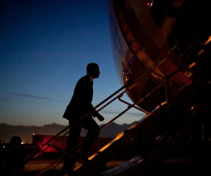 President Barack Obama boards Air Force One at Bagram Air Field, Afghanistan, as he departs for Washington, D.C.,  last year.