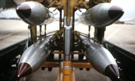 Four B-61 nuclear bombs racked at Barksdale Air Force Base, La., in 1986.