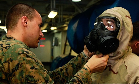 Marines training for possible chemical or biological weapons attacks