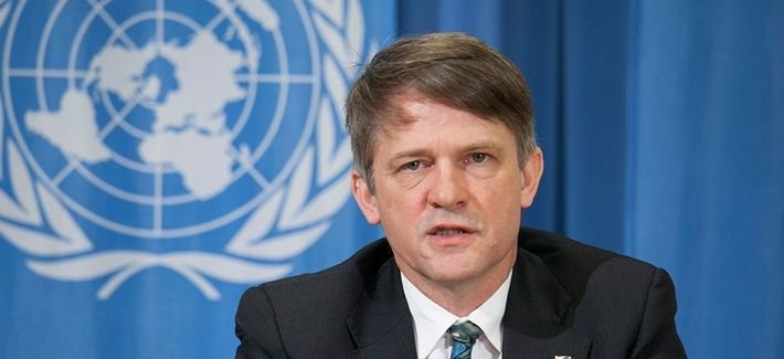 Assistant Secretary of State for International Security and Nonproliferation Thomas Countryman speaking to reporters in Geneva