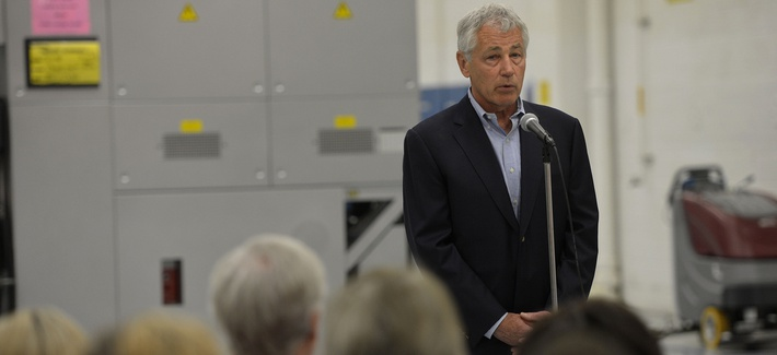 Defense Secretary Chuck Hagel delivers remarks to civilian employees of the Fleet Readiness Center at NAS Jacksonville, Fla., after touring their facility on July 16.