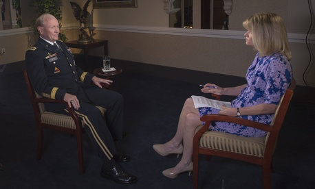 Chairman of the Joint Chiefs of Staff Martin Dempsey being interviewed by ABC's Martha Raddatz