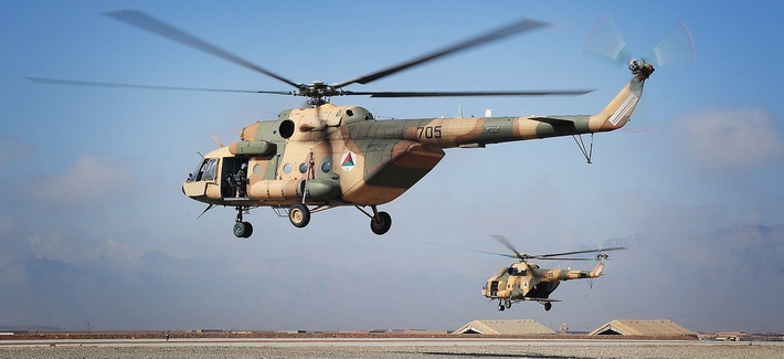An Mi-17 helicopter being flown by members of the Afghan military