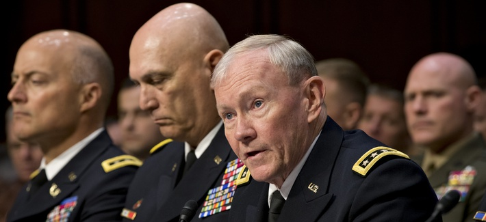 Chairman of the Joint Chiefs of Staff Martin Dempsey and other senior military leaders testifying at a Capitol Hill hearing on military sexual assaults