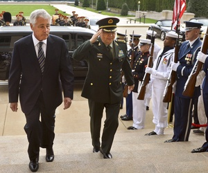 Defense Sec. Chuck Hagel spoke about Egypt on Monday during a joint Pentagon press conference with China's defense minister, Gen. Change Wanquan. Aug. 19, 2013
