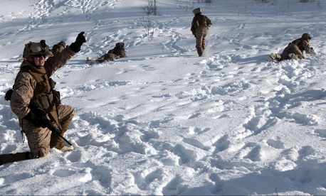 Marines participating in the 2012 Cold Response military exercise