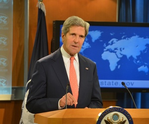 Secretary of State John Kerry addresses the situation in Syria during a press conference at the State Department on Monday.