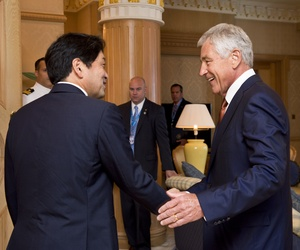 Defense Secretary Chuck Hagel meets with South Korean Defense Minister Kim Kwan-jin in Brunei on Wednesday.