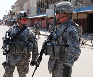 Soldiers patrolling in Baghdad