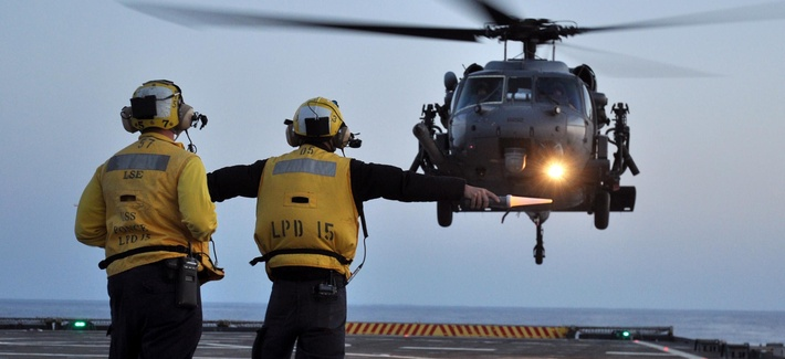 USS Ponce participates in Operation Odyssey Dawn, the 2011 campaign against Libya.