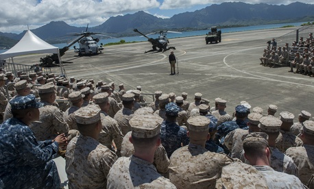 Defense Secretary Chuck Hagel meets with Marines at Marine Corps Air Station Kaneohe Bay last week.