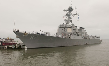 The guided missile destroyer USS Mason departs from Naval Station Norfolk in Virgina last month.