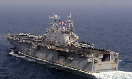The amphibious assault ship USS Peleliu in the Strait of Hormuz