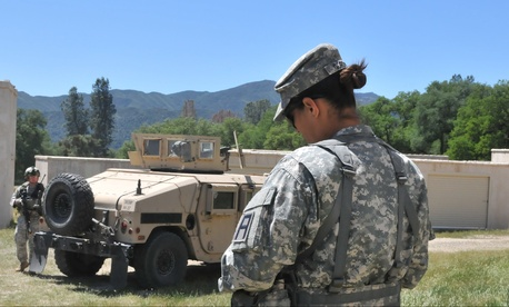 A female officer in military police training