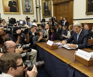 Secretary of State John Kerry, Secretary of Defense Chuck Hagel, and Chairman of the Joint Chiefs of Staff Martin Dempsey at a House Armed Services Committee Hearing