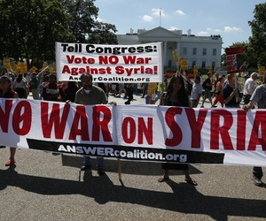 Protestors in Washington D.C. against a possible military action in Syria