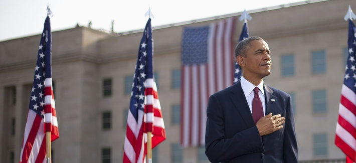 President Obama during the 9/11 memorial ceremony at the Pentagon