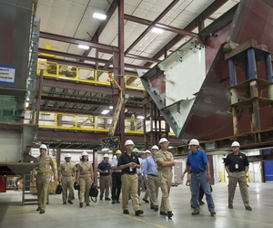 CNO Adm. Jonathan Greenert tours a shipyard in Wisconsin, responsible for building parts of the LCS
