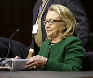 Former Secretary of State Hillary Clinton testifying to a Senate panel on Benghazi