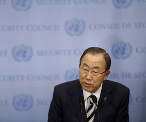 U.N. Secretary General Ban Ki-moon speaking to reporters after a Security Council meeting