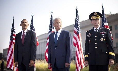 President Obama, Secretary of Defense Chuck Hagel, and Joint Chiefs Chairman Martin Dempsey at the Pentagon during a 9/11 remembrance ceremony