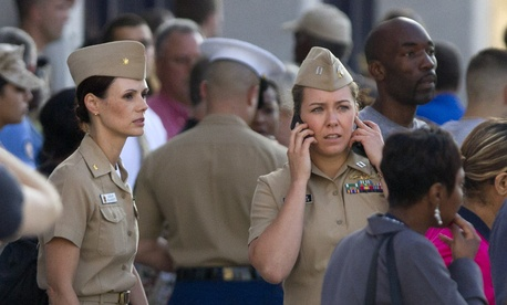 Navy Lt. Lauryn Dempsey speaking on the phone following the shooting at Washington Navy Yard