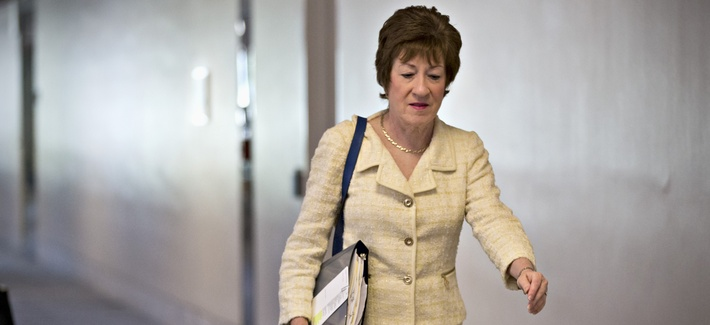 Sen. Susan Collins, R-Maine, arrives for a closed door briefing on Syria