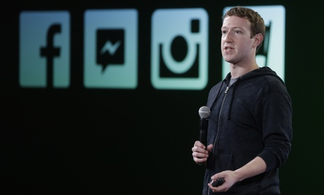 Mark Zuckerberg speaking at a Facebook event