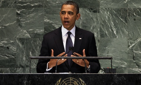 President Obama addresses the United Nations General Assembly in New York last year.