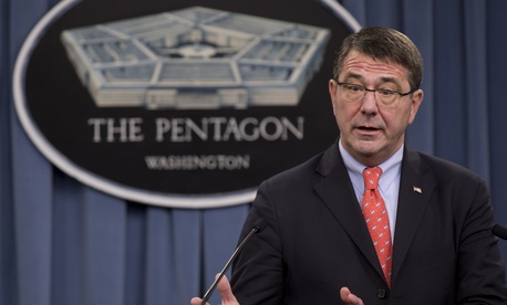 Deputy Defense Secretary Ash Carter speaking to reporters at the Pentagon