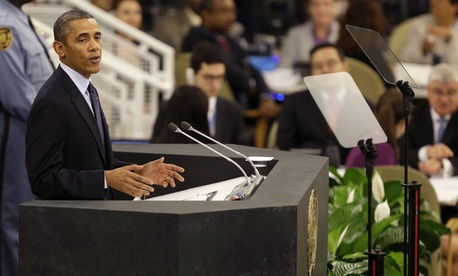 President Obama speaking at the U.N. General Assembly