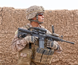 A Marine on patrol in Afghanistan