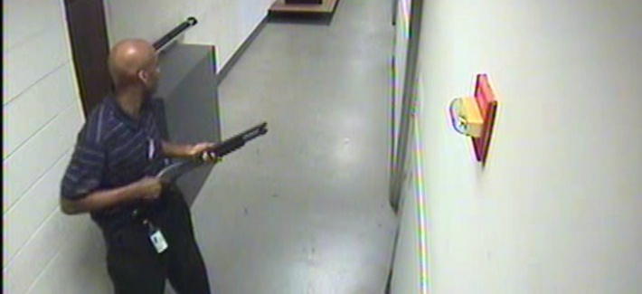 Washington Navy Yard shooter Alexis Aaron is caught on surveillance video during the Sept. 16 shooting.