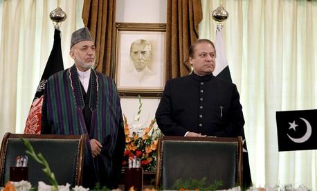Afghan President Hamid Karzai and Pakistani Prime Minister Nawaz Sharif met in Islamabad on Aug. 26.