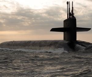 Ohio-class ballistic missile submarine USS Rhode Island (SSBN 740) returns to Naval Submarine Base Kings Bay, Georgia, Mar. 20, 2013.