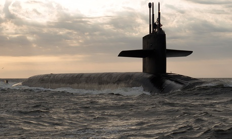 Ohio-class ballistic missile submarine USS Rhode Island (SSBN 740) returns to Naval Submarine Base Kings Bay, Georgia, Mar. 20, 2013.