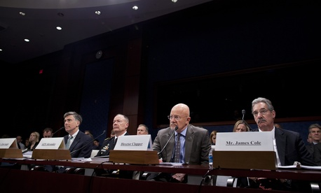 Deputy National Security Agency Director Chris Inglis, National Security Agency Director Gen. Keith Alexander, Director of National Intelligence James Clapper and Deputy Attorney General James Cole, testify in Congress, Oct. 29, 2013.