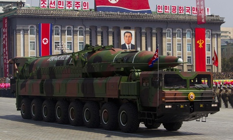 North Korea claims it already has developed ICBMs like this missile paraded in Pyongyang.