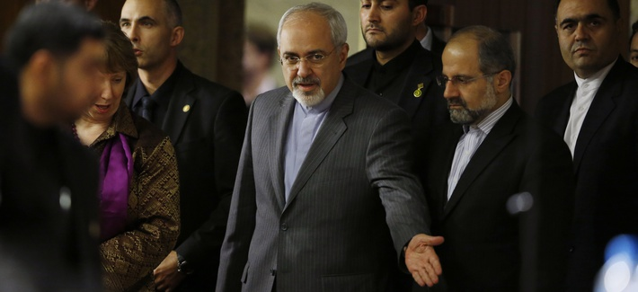 Iran's Foreign Minister Javad Zarif prior to a press conference in Geneva, Switzerland