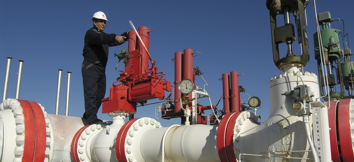 A gas pipeline worker on an installation owned by Turkey's state-owned BOTAS company
