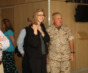 Christine Fox touring a Marine Corps facility