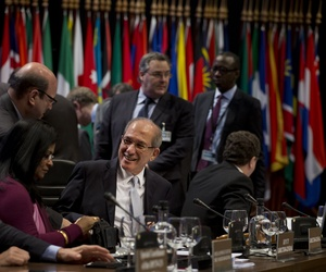 OPCW Director General Ahmet Uzumcu during a conference in the Hague