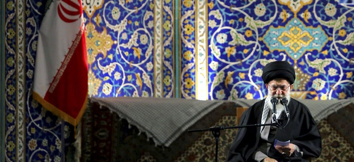Iran's Supreme Leader Ayatollah Ali Khamenei said Iran would never give in to sanctions, speaking to the paramilitary Basij force at the Imam Khomeini Grand Mosque in Tehran, Iran, Nov. 20, 2013.