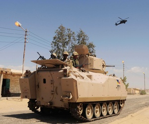 An Egyptian APV patrols a village in Northern Sinai